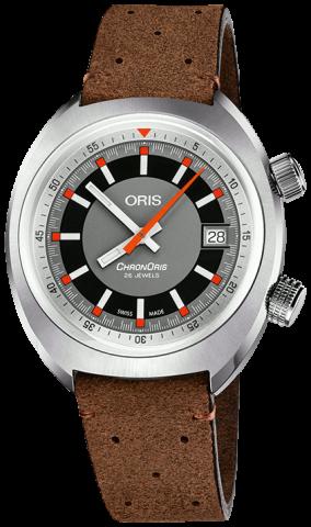 Часы Oris Chronoris также предлагаются на искусственно состаренном коричневом кожаном ремешке с перфорацией