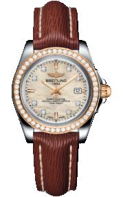 Breitling Galactic 32 Sleek Steel & Rose Gold Gem-Set Bezel - Mother-Of-Pearl Diamonds C7133053/A803/211X/A14BA.1